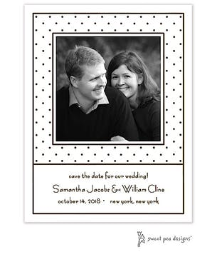 Tiny Dots White & Chocolate Flat Photo Save The Date Card
