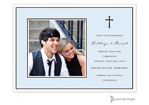 Classic Edge White & Chocolate On Blue Flat Photo Save The Date Card