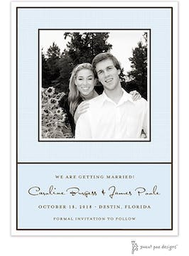 Linen Blue Flat Photo Save The Date Card