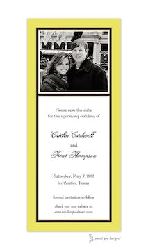 Classic Black Border On Limeade & White Flat Photo Save The Date Card