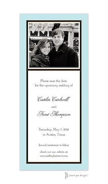 Classic Black Border On Aqua & White Flat Photo Save The Date Card
