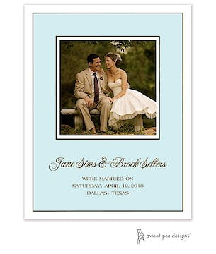 Classic Edge White & Chocolate On Aqua Flat Photo Card