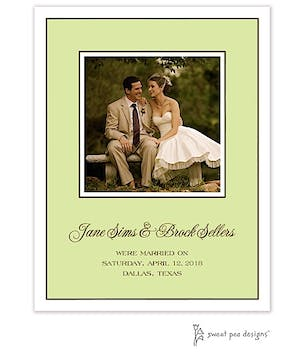 Classic Edge White & Chocolate On Lime Flat Photo Card