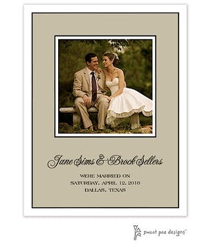 Classic Edge White & Black On Taupe Flat Photo Card