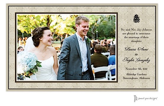 Damask & Dots Taupe Flat Photo Card