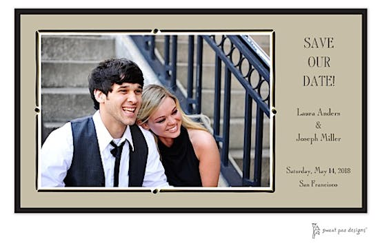 Vintage Frame Taupe & Black Flat Photo Card