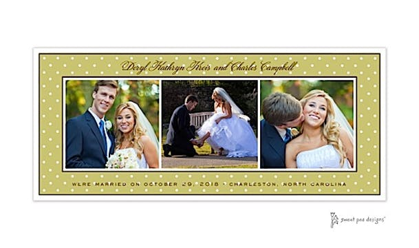 Sweet Dots White On Olive Flat Photo Card