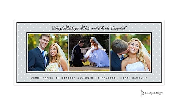 Sweet Dots White On Silver Flat Photo Card