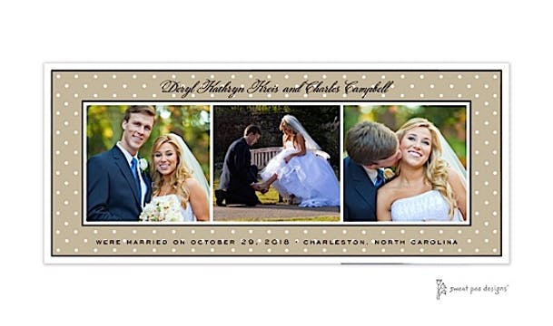 Sweet Dots White On Taupe Flat Photo Card