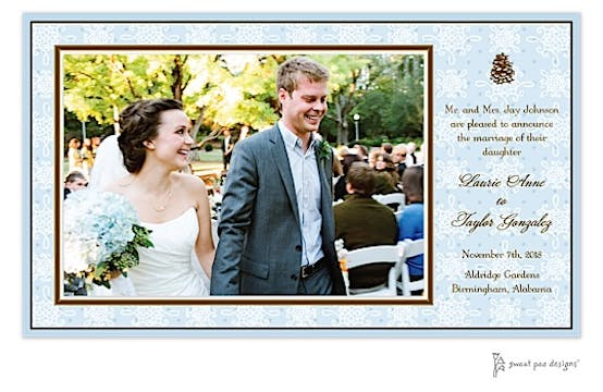 Damask & Dots Blue Print and Apply Flat Photo Card
