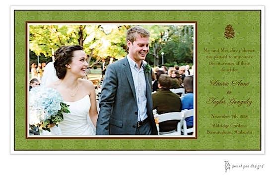Damask & Dots Green Print and Apply Flat Photo Card