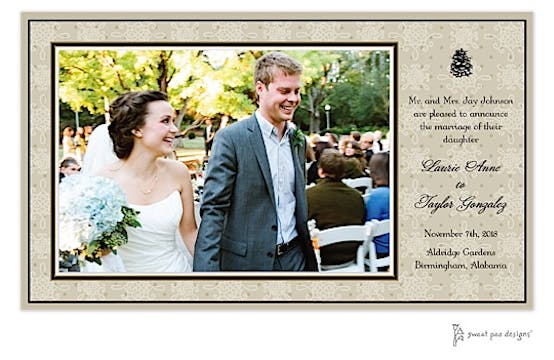 Damask & Dots Taupe Print and Apply Flat Photo Card