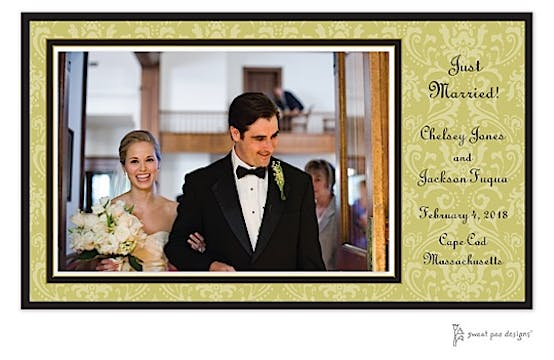 Damask Olive On Olive Print and Apply Flat Photo Card