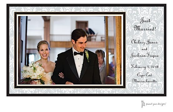 Damask Silver On Silver Print and Apply Flat Photo Card