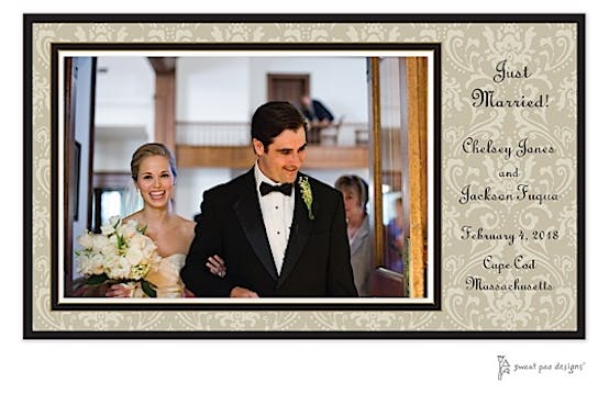 Damask Taupe On Taupe Print and Apply Flat Photo Card