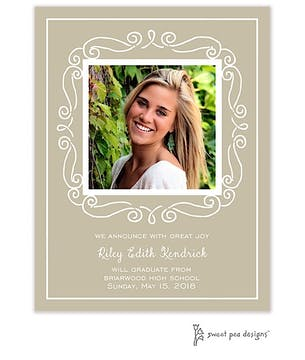 Curly Frame White On Taupe Flat Photo Card