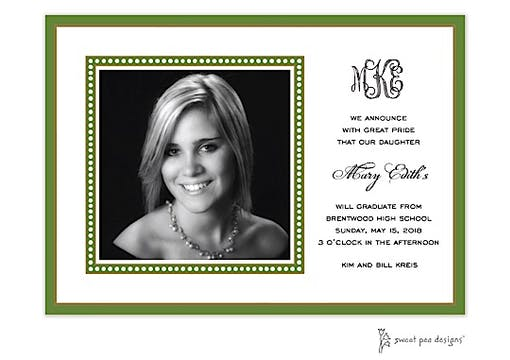 Dotted Border Green Flat Photo Card