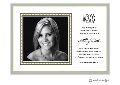 Dotted Border Silver Flat Photo Card