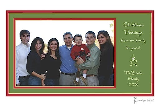 Red Borders On Green Christmas Print & Apply Flat Photo Card