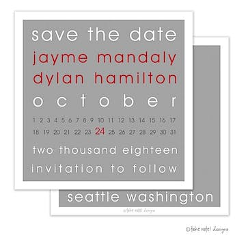 Modern Block Grey and Red Save The Date Invitation
