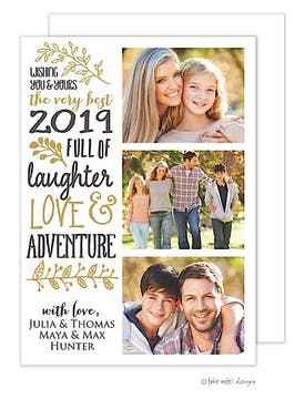 Love, Laughter & Adventure Vertical Flat Photo Holiday Card
