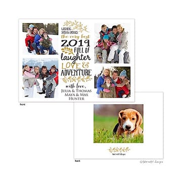 Love, Laughter & Adventure 4 Square Flat Photo Holiday Card