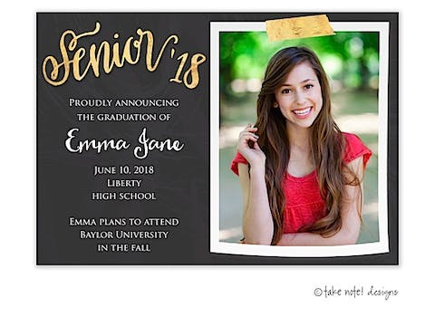 Senior Gold Tape And Chalkboard Graduation Photo Magnet