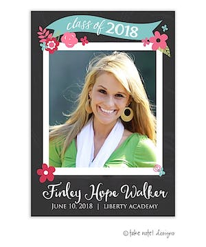 Chalkboard Floral Banner Graduation Photo Magnet