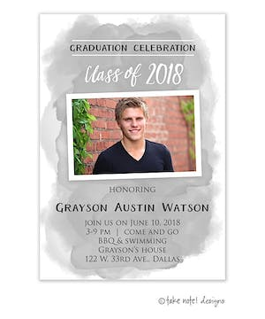 Grey Watercolor Wash Graduation Photo Magnet