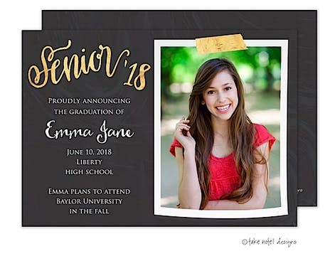 Emma Jane Gold Tape Script Photo Card