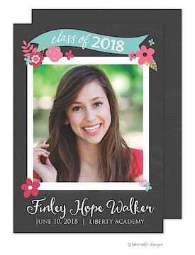 Finley Hope Chalkboard Spring Floral Banner Photo Card