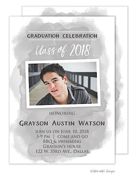 Grayson Austin Grey Watercolor Wash Photo Card