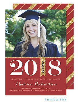 Grad Glitter Bold Red Photo Card