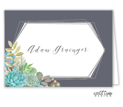 Bright Succulents Foil-Pressed Placecard