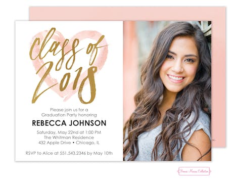 Painterly Heart Grad Invitation