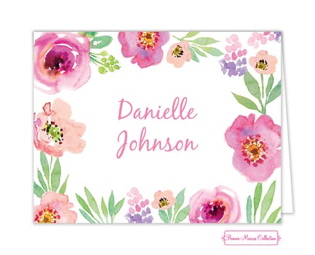Watercolor Blossom White Folded Note