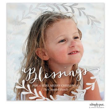 Wreath Foil Pressed Holiday Flat Photo Card
