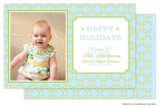 Blue and Lime Quatrefoil Flat Photo Card