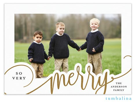 So Very Merry Foil Pressed Holiday Photo Card