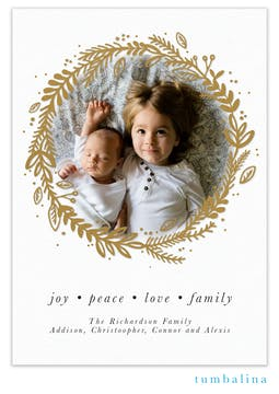 Glowing Wreath Foil Pressed Holiday Photo Card
