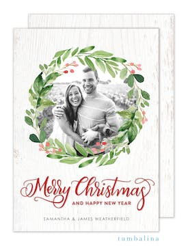 Watercolor Wreath on Wood Foil Pressed Holiday Photo Card