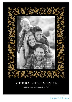 Glistening Leaves Foil Pressed Holiday Photo Card