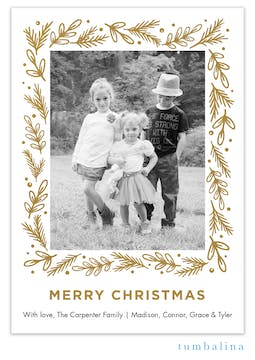 Merry Christmas Sprigs Foil Pressed Holiday Photo Card