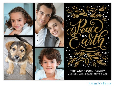 Shining Peace on Earth (Multi) Foil Pressed Holiday Photo Card