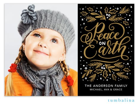 Shining Peace on Earth Foil Pressed Holiday Photo Card