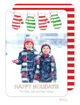 Warm Woolen Mittens Holiday Photo Card