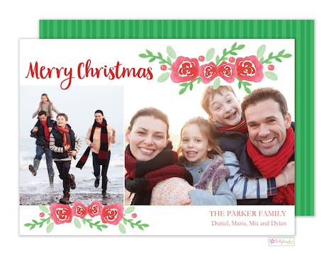 Winter Rose Holiday Photo Card
