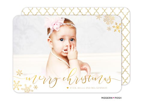 Glistening Merry Christmas Snowflakes Holiday Photo Card