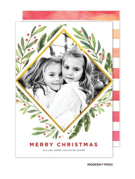Holiday Greenery Holiday Photo Card