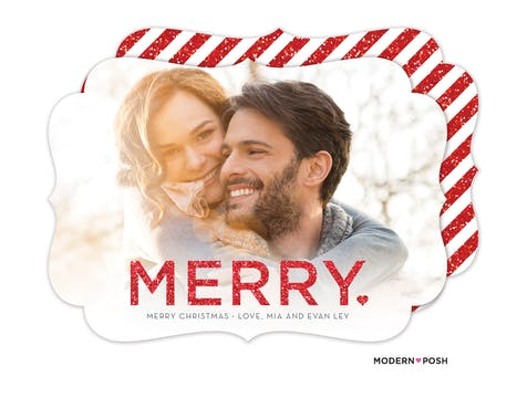 Glitter Merry Heart Holiday Photo Card